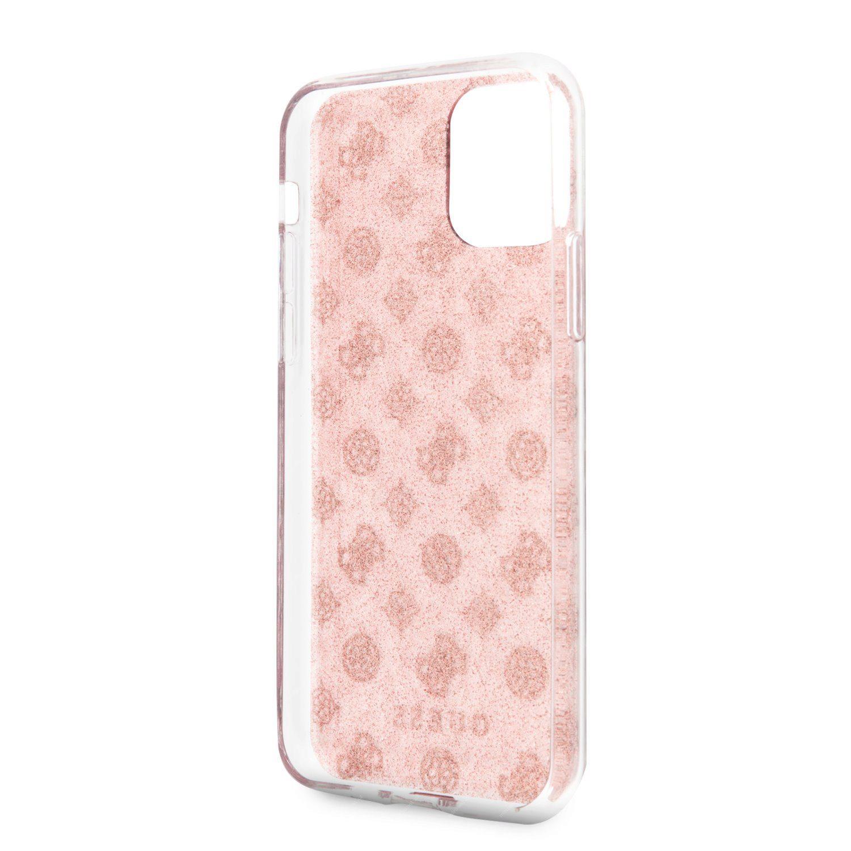 GUESS 4G Peony Glitter Zadní Kryt pro Apple iPhone 11 růžová
