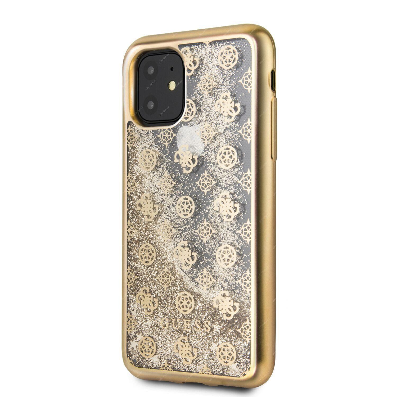 GUESS 4G Peony Glitter Zadní Kryt pro Apple iPhone 11 Pro Max zlatá