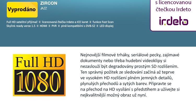 Zircon Jazz - satelitní Full HD přijímač Skylink ready / s licencovanou čtečkou Irdeto / FAST SCAN