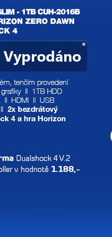 SONY PlayStation 4 - 1TB slim Black CUH-2016B + Horizon Zero Dawn