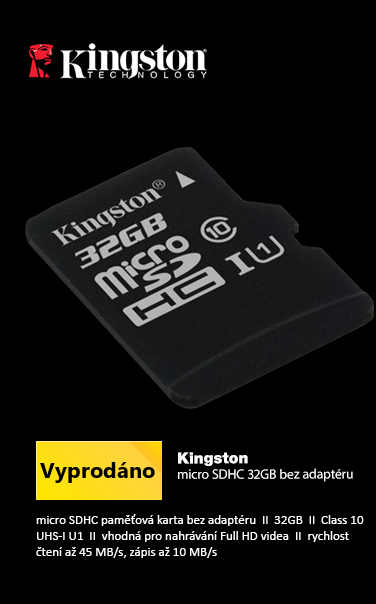 Kingston microSDHC 32GB bez adaptéru /  UHS-I Class 10 / 2 Gen. / 45MB čtení / 10MB zápis