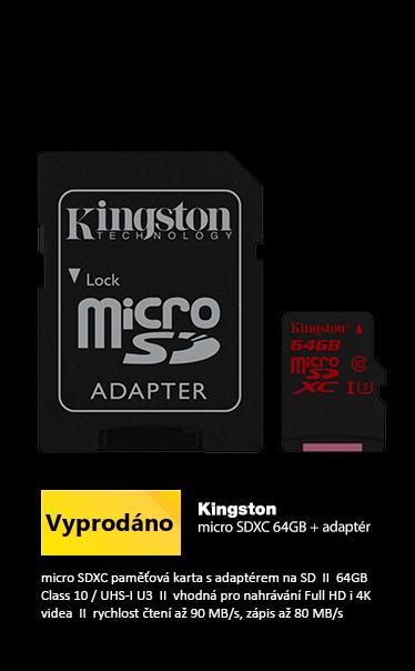 Kingston microSDXC 64GB + adaptér /  UHS-I U3 / 90MB čtení/80MB zápis vhodné pro 4K