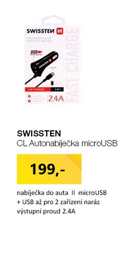 SWISSTEN CL Autonabíječka microUSB a USB 2.4A černá
