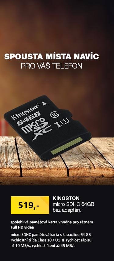 Kingston microSDHC 64GB bez adaptéru