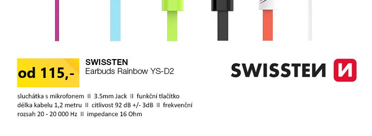 SWISSTEN Earbuds Rainbow YS-D2 černá