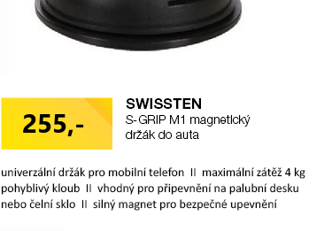 MAGNETICKÝ DRŽÁK DO AUTA SWISSTEN S-GRIP M1