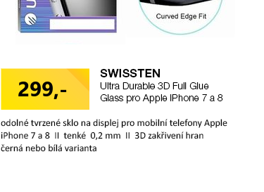 SWISSTEN Ultra Durable 3D FULL GLUE Glass pro Apple iPhone 7 & 8 černá