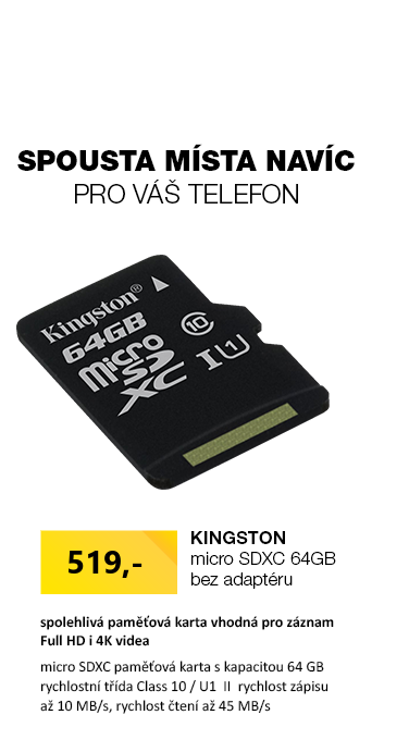 Kingston microSDXC 64GB bez adaptéru