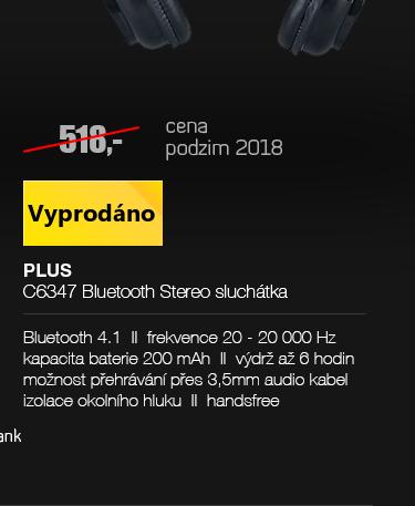 PLUS C6347 Bluetooth Stereo sluchátka černá