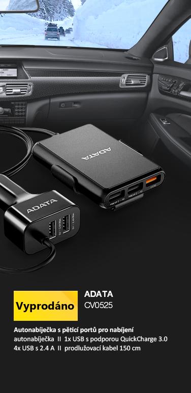 Adata V0525 nabíječka do auta 5 portů černá