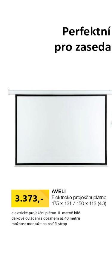 AVELI Elektrické projekční plátno 150x113
