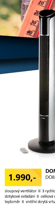 DOMO DO8127 Sloupový ventilátor s dálkovým ovládáním