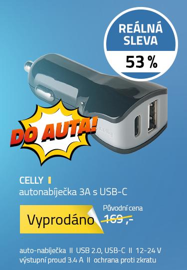 Celly autonabíječka 3A s usb-c