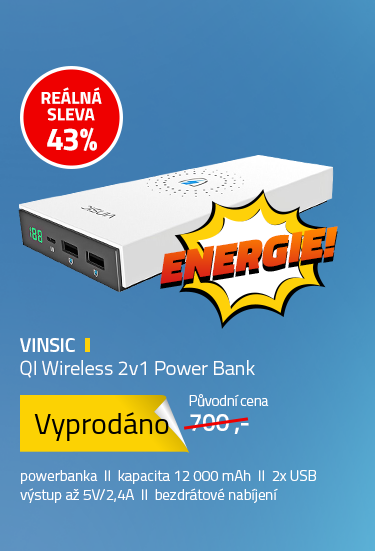 Vinsic QI Wireless 2v1 Power Bank 12000mAh