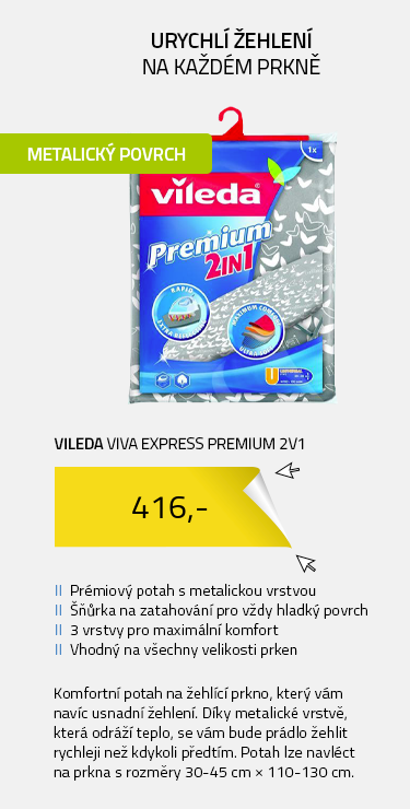Vileda Viva Express Premium 2v1 potah na žehlící prkno