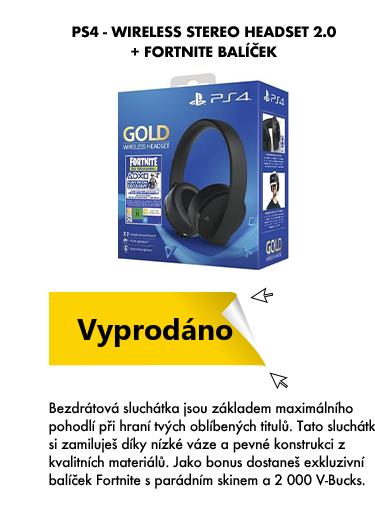PS4 wireless stereo headset 2.0 + fortnite balíček