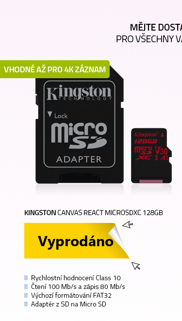Kingston Canvas React microSDXC 128GB s adaptérem