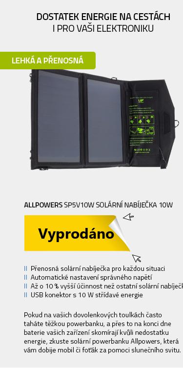 Allpowers SP5V10W Solární nabíječka 10W