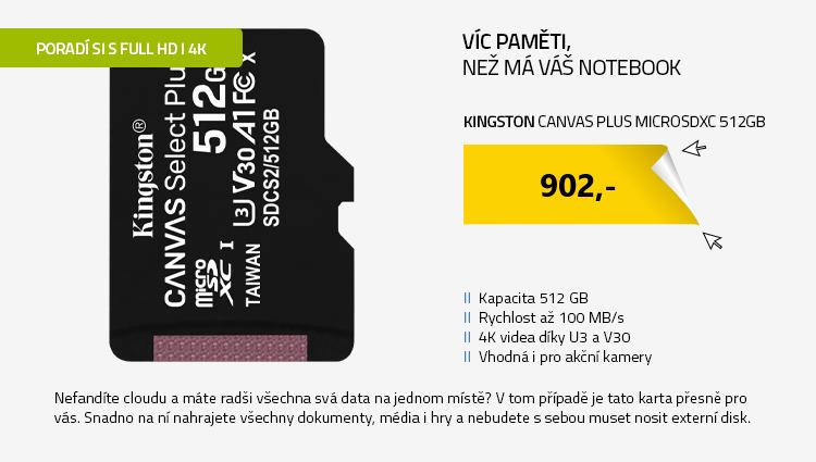 Kingston Canvas Plus microSDXC 512GB bez adaptéru