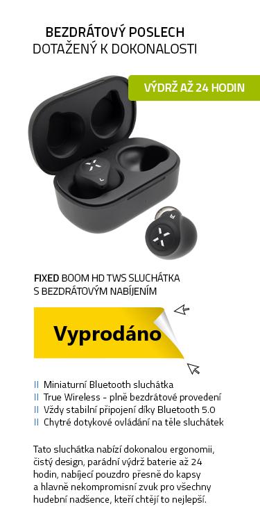 FIXED Boom HD TWS sluchátka s bezdrátovým nabíjením černá