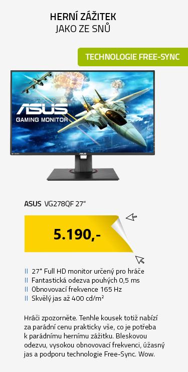 """LCD Monitor 27"""" ASUS VG278QF černá"""