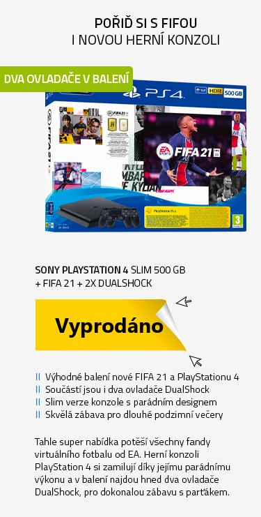 SONY PlayStation 4 - 500GB slim + FIFA 21 + 2x DualShock