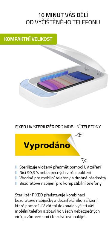 FIXED UV sterilizér pro mobilní telefony s bezdrátovým QI nabíjením