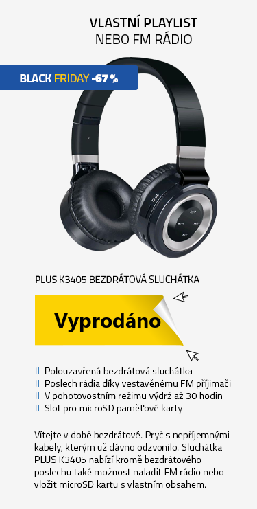 PLUS K3405 Bezdrátová sluchátka s FM rádiem a microSD