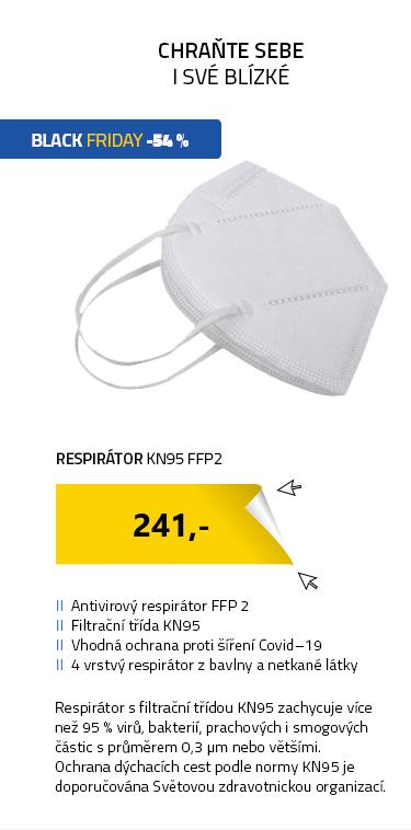 Respirátor KN95 FFP2 respirační rouška (5ks)