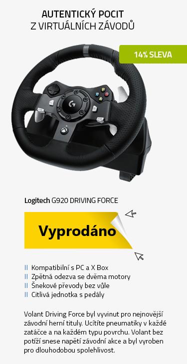 Logitech G920 Driving Force závodní volant pro PC nebo Xbox One
