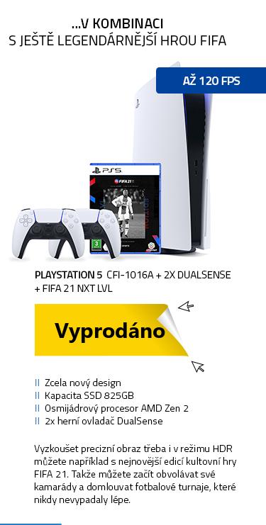 PlayStation 5 CFI-1016A + 2x DualSense ovladač + FIFA21 NXT LVL