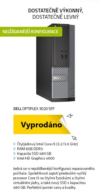 Počítač Repasovaný - DELL OptiPlex 3020 SFF černá , i5-4570 3.2GHz , 8GB , 480GB SSD , DVD , Intel HD 4600 , W10P
