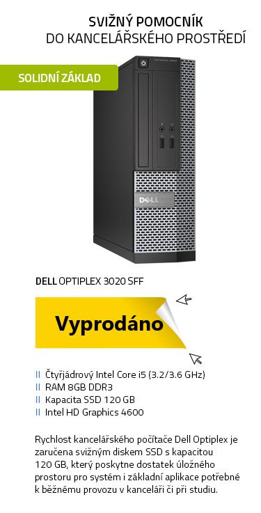 Počítač Repasovaný - DELL OptiPlex 3020 SFF černá , i5-4570 3.2GHz , 8GB , 120GB SSD , DVD , Intel HD 4600 , W10P