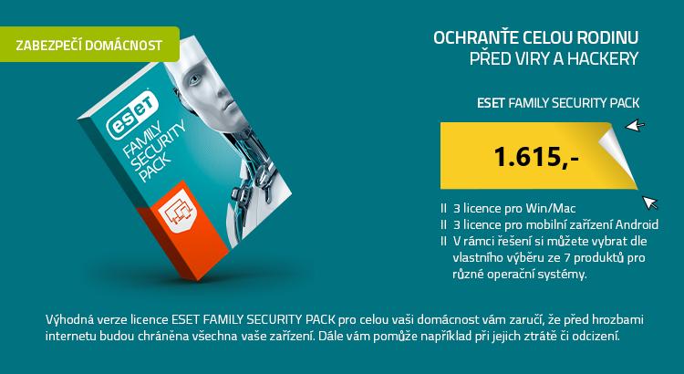 ESET Family Security Pack , 3 počítače a 3 mobily , 1 rok , krabicová licence