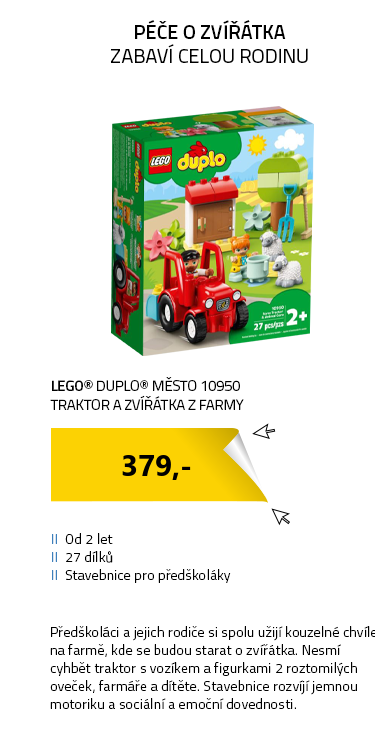 LEGO DUPLO Town 10950 Traktor a zvířátka z farmy