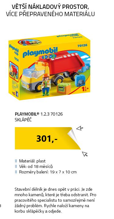 Playmobil 1.2.3 70126 Sklápěč