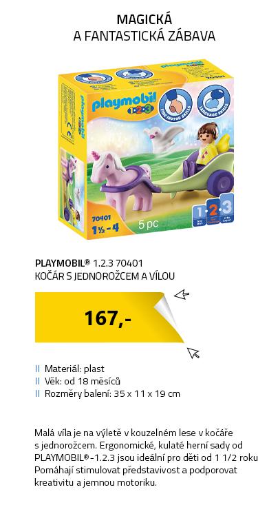 Playmobil 1.2.3 70401 Kočár s jednorožcem a vílou