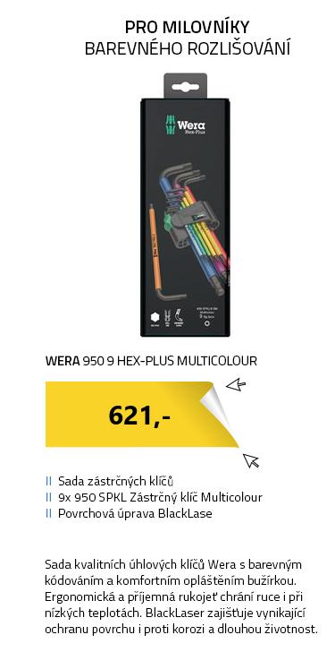 WERA 950 9 Hex-Plus Multicolour 1 SB Multicolour Sada zástrčných klíčů