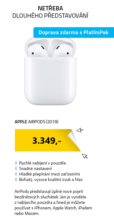Apple AirPods (2019) s klasickým nabíjecím pouzdrem