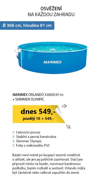 Marimex bazén Orlando 3.66x0.91 m + skimmer Olympic (bez hadic a schůdků)