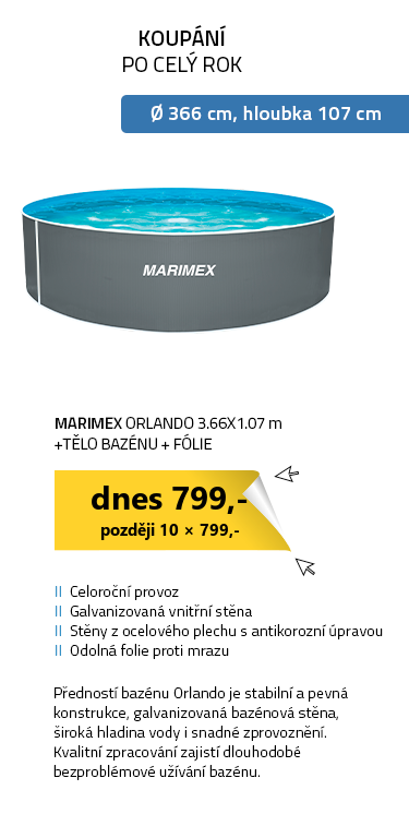 Marimex bazén Orlando 3.66x1.07 m - tělo bazénu + fólie