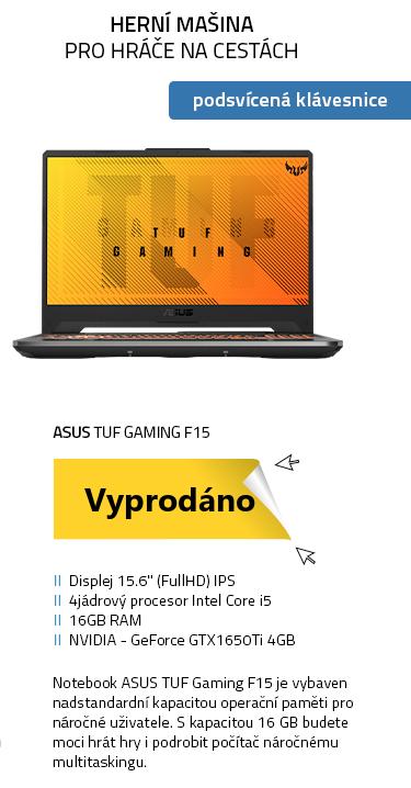 Notebook ASUS TUF Gaming F15 černá