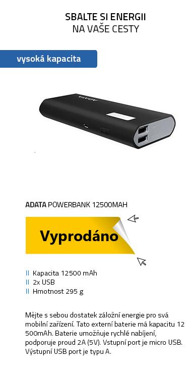 ADATA PowerBank P12500D 12500mAh černá