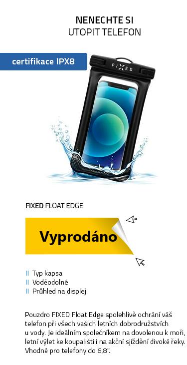 FIXED Float Edge Voděodolné plovoucí pouzdro na mobil s kvalitním uzamykacím systémem a certitikací IPX8 černá