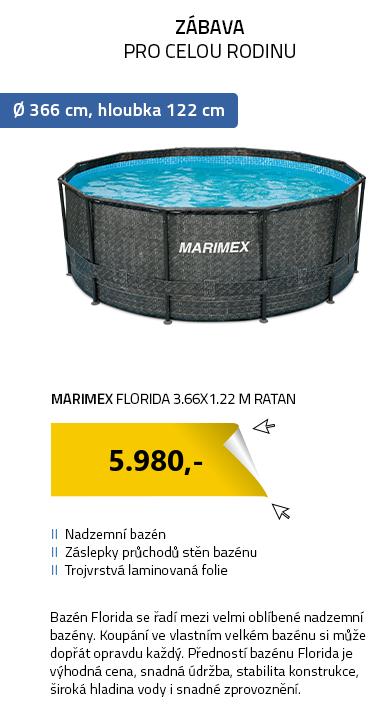Marimex bazén Florida 3.66x1.22 m RATAN bez příslušenství