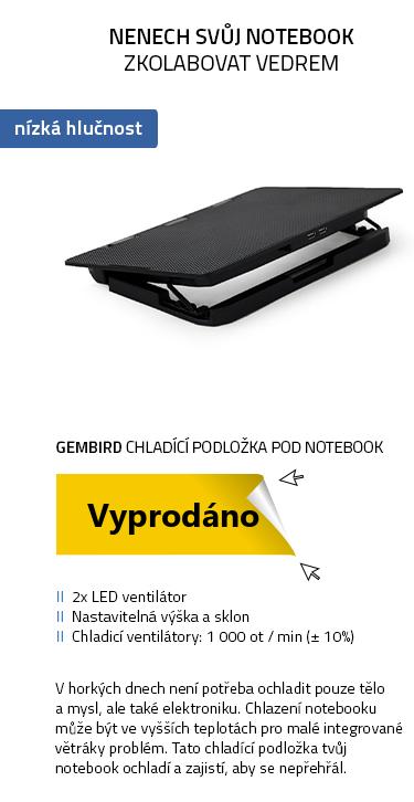 """Gembird NBS-2F15-02 chladící podložka pod notebook 15.6"""" černá"""