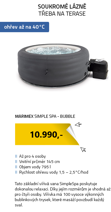 Marimex bazén vířivý nafukovací Simple Spa - Bubble