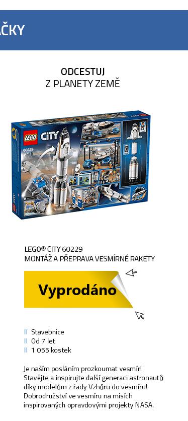 Lego City 60229 Montáž a přeprava vesmírné rakety