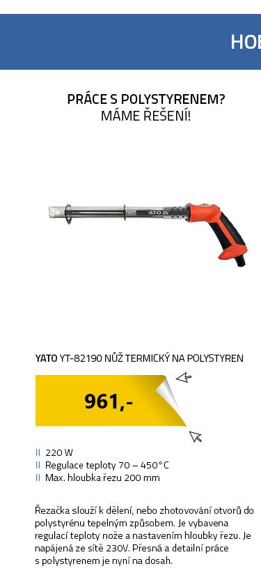 Yato YT-82190 Nůž termický na polystyren